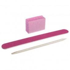 Набор одноразовый для маникюра розовый (пилочка, баф, апельсиновая палочка)