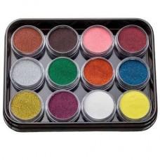 Набор цветной акриловой пудры с глитером KODI Professional 12шт. G-1 (1-12)