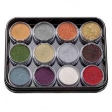 Набор цветной акриловой пудры с глитером KODI Professional 12шт. G-2 (13-24)