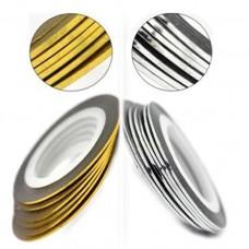 Голографические полоски (золото и серебро 2 штуки в наборе)