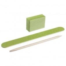 Набор одноразовый для маникюра зеленый (пилочка, баф, апельсиновая палочка)