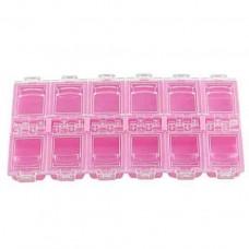 Контейнер для страз, 12 секций, розовый