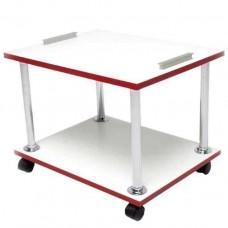 Тележка педикюрная на 2 полочки, белая с красным