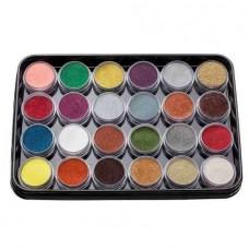 Набор цветной акриловой пудры с глитером KODI Professional G1 (24 шт.)