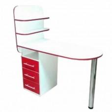 Маникюрный стол Овал-би, 2 полочки, белый с красным