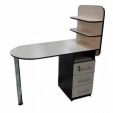 Маникюрный стол Овал-би, 2 полочки, капучино