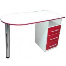 Маникюрный стол Вдохновение, белый с красным