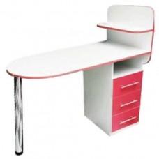Маникюрный стол Овал, складная столешница, белый с красным